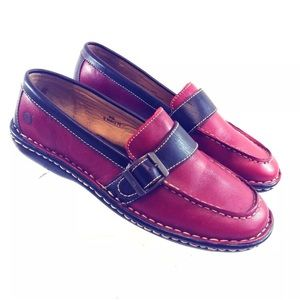 Born Women's Loafers Leather Red 8M Hand Crafted